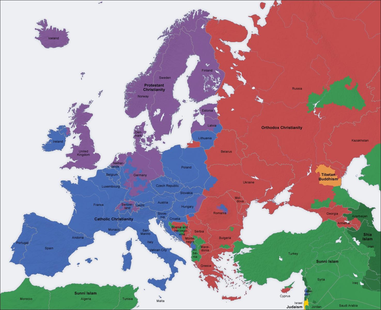 Europa Wedlug Dominujacej Religii