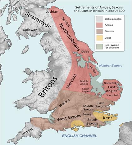 Osadnictwo Anglów, Sasów i Jutów  w porzymskiej Brytanii ok. 600 r.